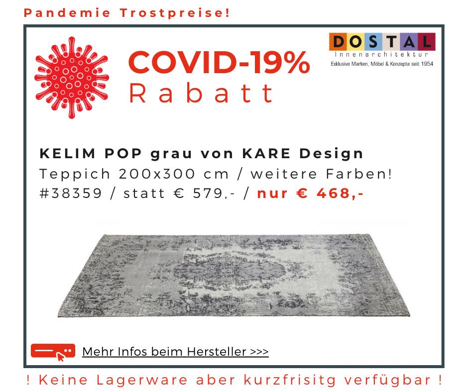 Teppich Kelim Pop grau 200x300cm